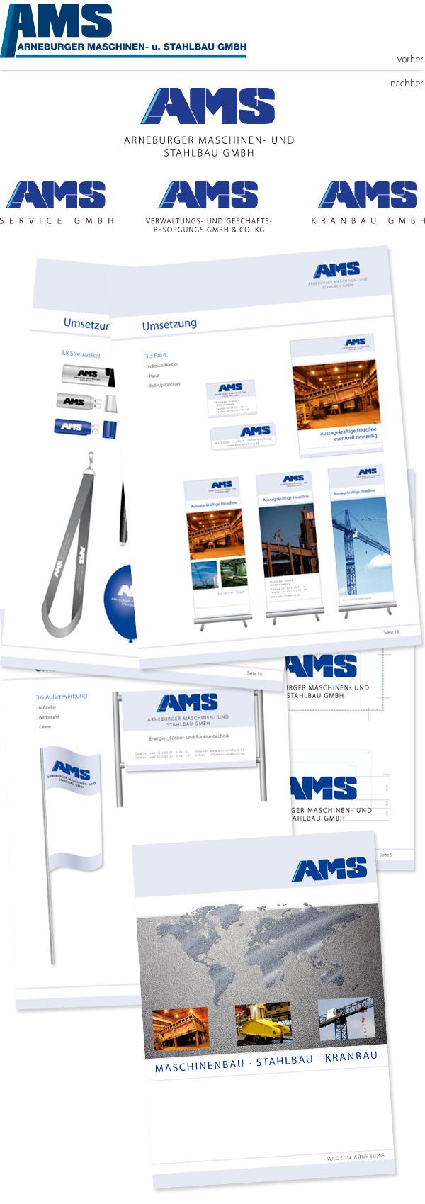 Corporate Design für AMS inklusive Banner, Schilder, Visitenkarte und Werbeartikel