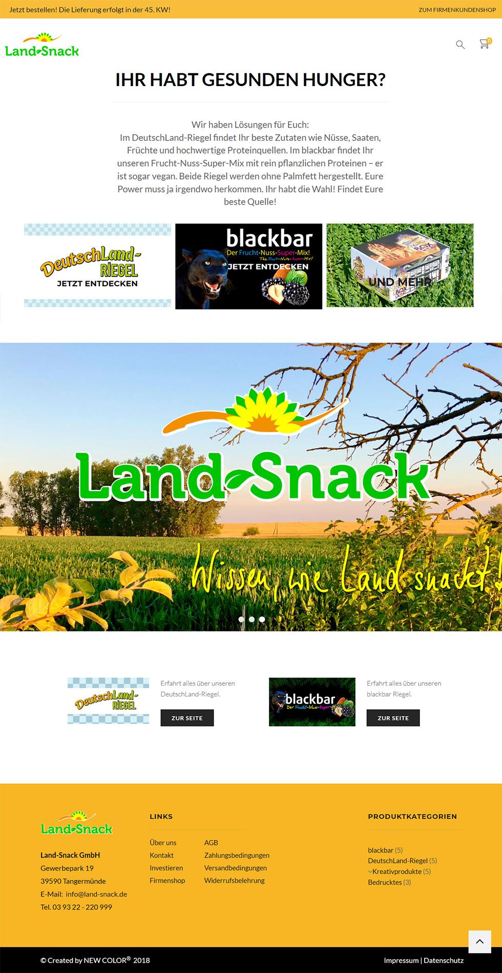 Startseite des Onlineshops von Land-Snack