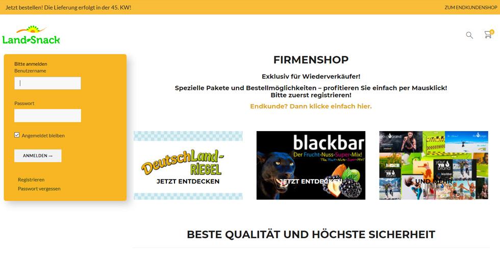 Screenshot der Firmenshopseite von Land-Snack
