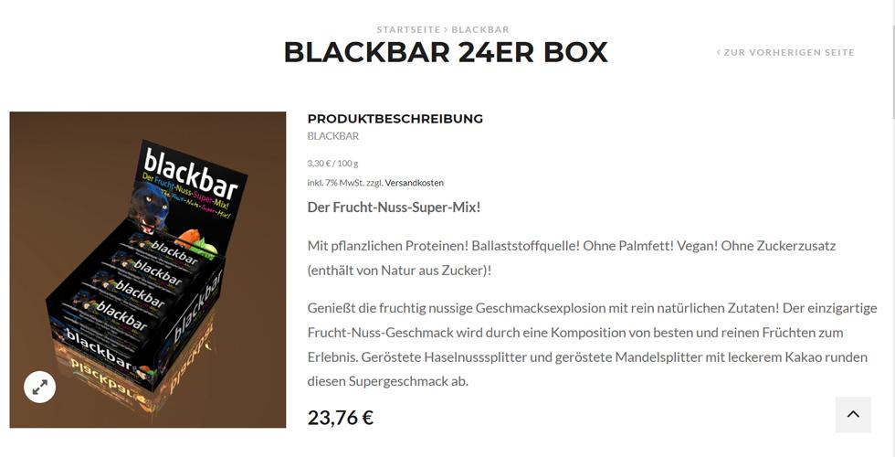 Darstellung eines einzelnen Produktes auf land-snack.de